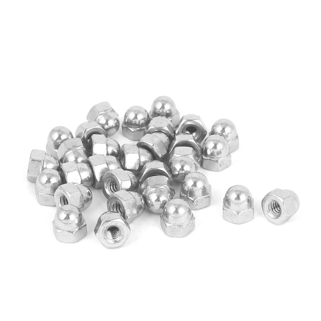 10#-24 304 Stainless Steel Dome Head Cap Hexagon Nuts Silver Tone 30pcs