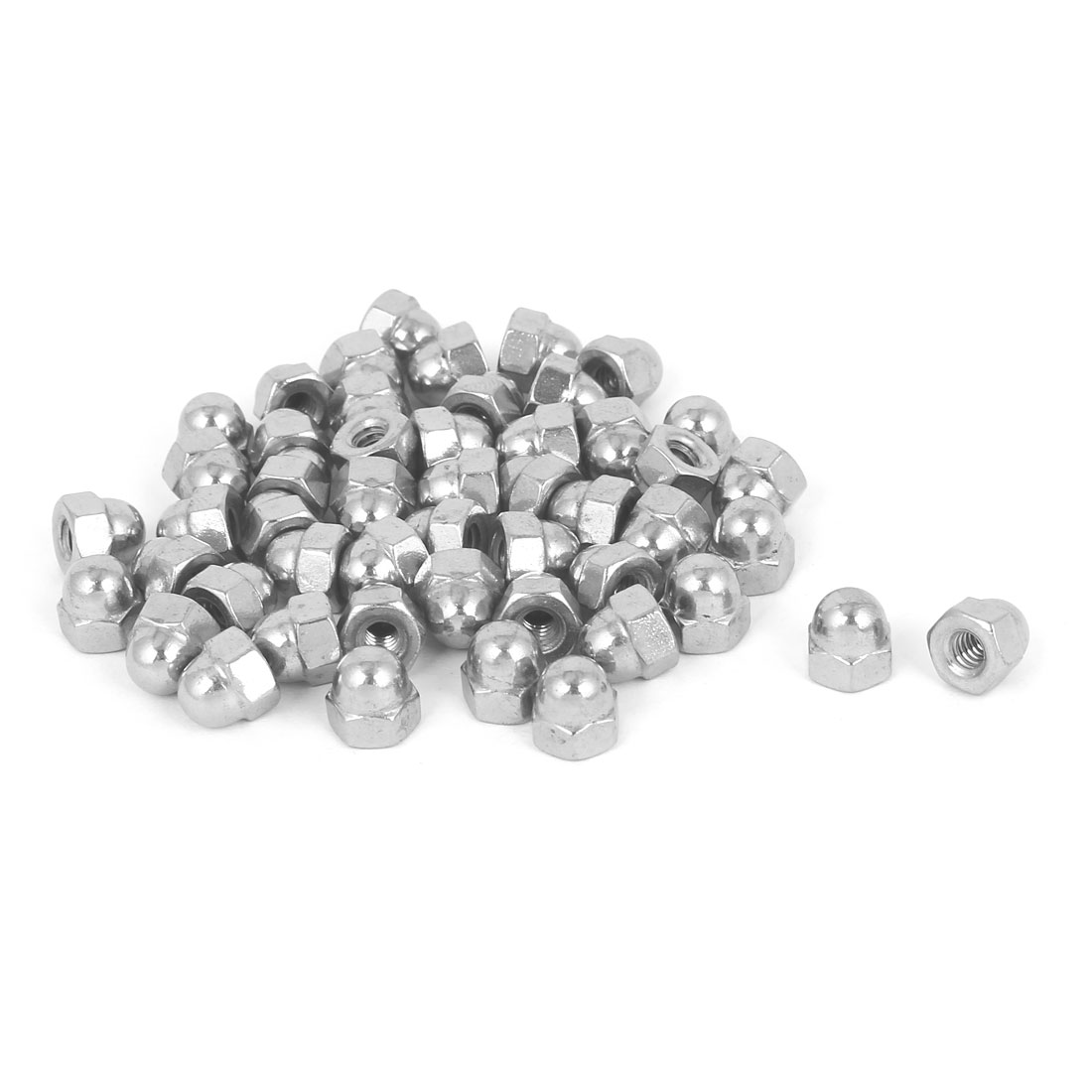10#-24 304 Stainless Steel Dome Head Cap Hexagon Nuts Silver Tone 50pcs