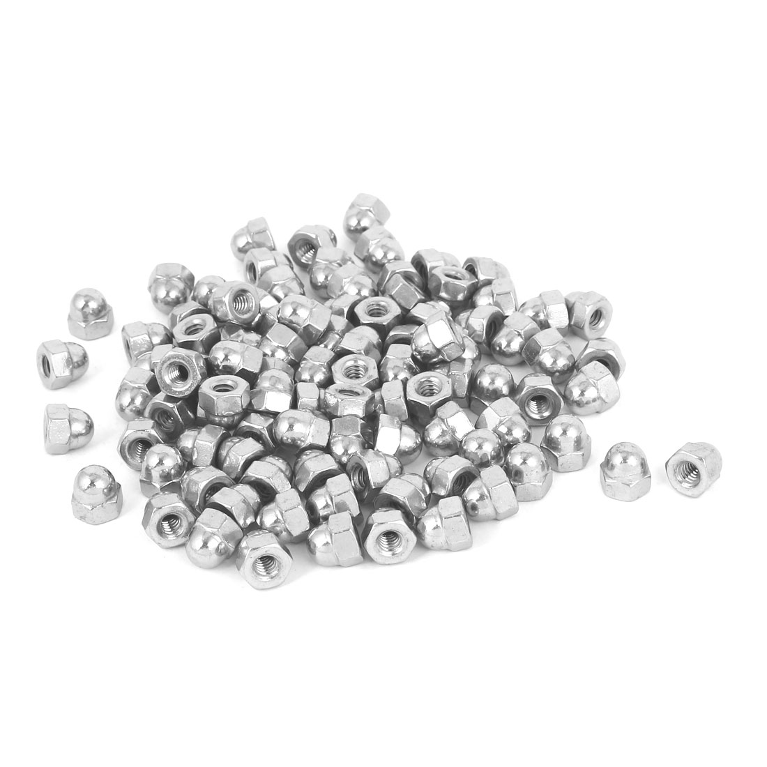 10#-24 304 Stainless Steel Dome Head Cap Hexagon Nuts Silver Tone 100pcs
