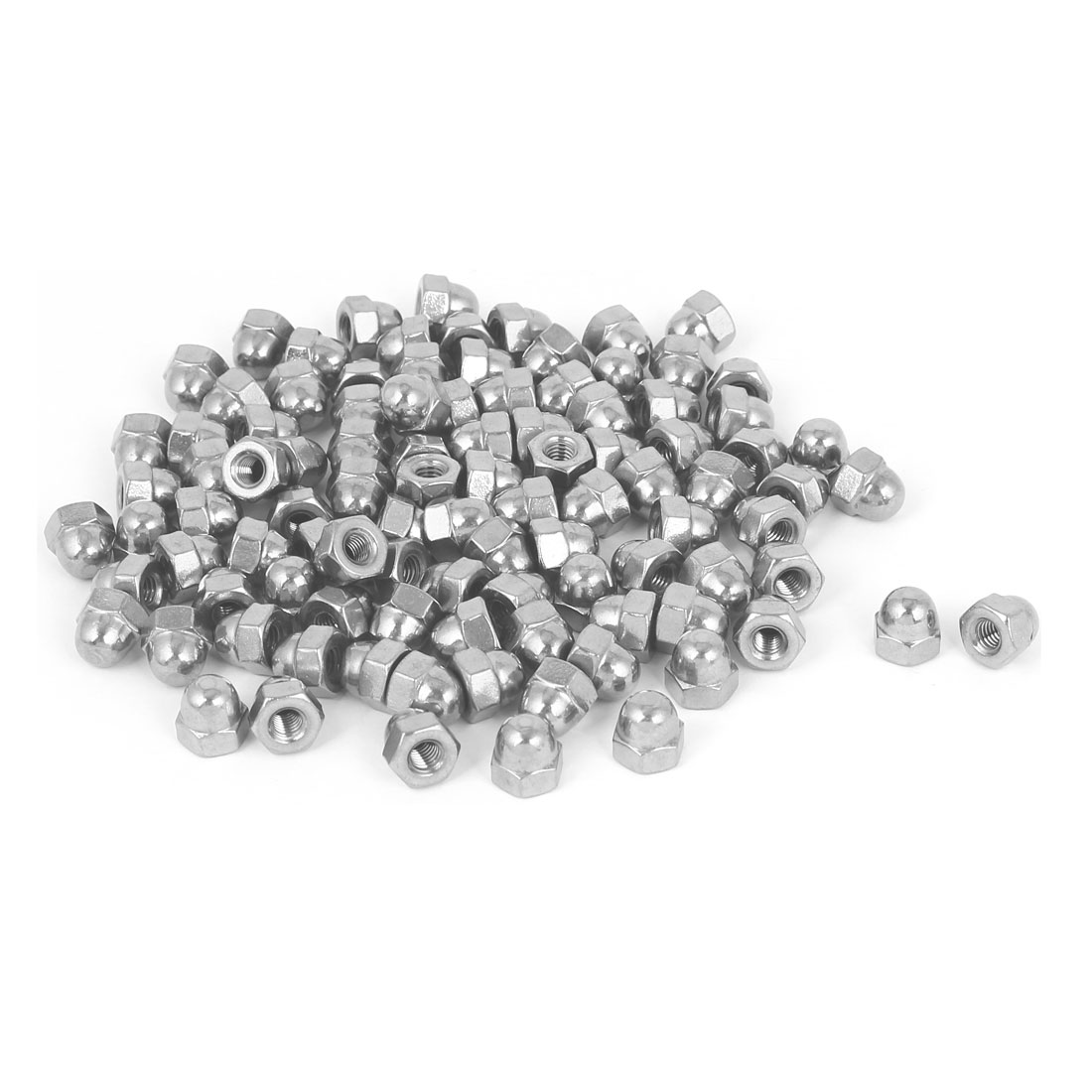 10#-32 304 Stainless Steel Dome Head Cap Cover Hexagon Nuts Silver Tone 100pcs
