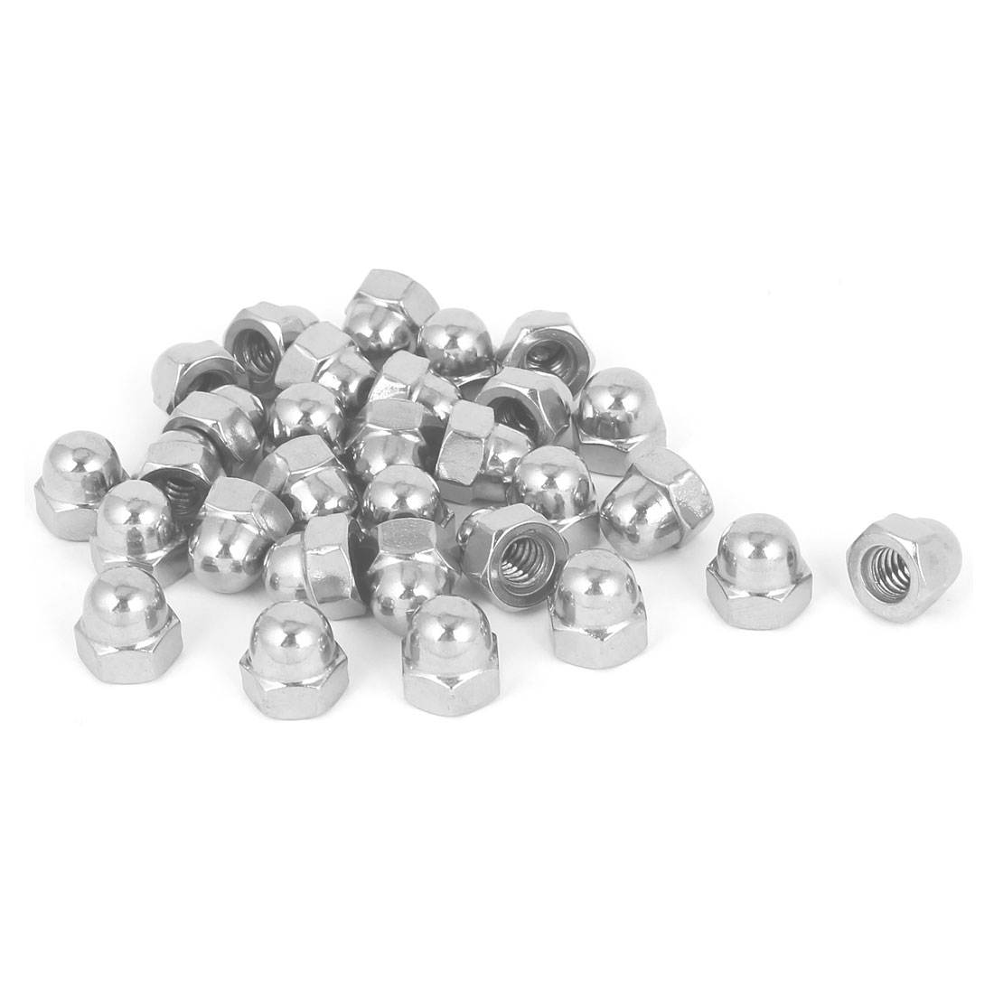 "1/4""-20 304 Stainless Steel Dome Head Cap Hexagon Nuts Silver Tone 30pcs"