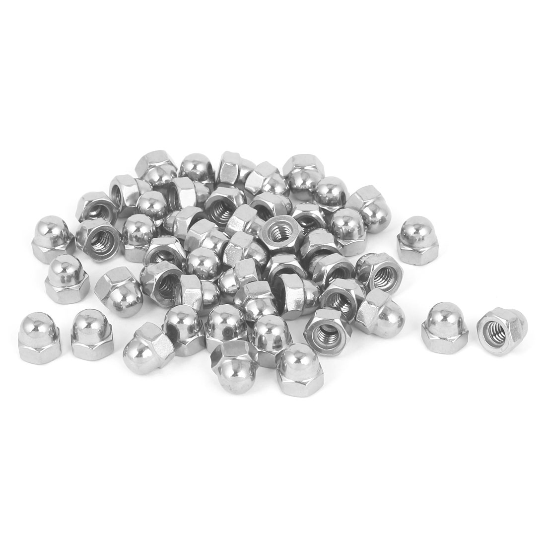"1/4""-20 304 Stainless Steel Dome Head Cap Hexagon Nuts Silver Tone 50pcs"