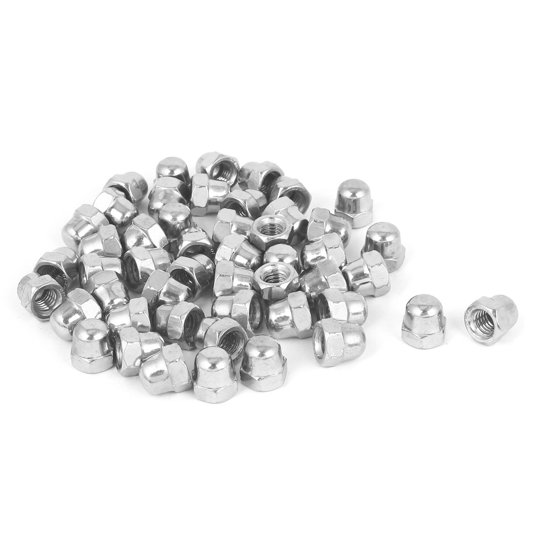 """5/16""""-18 304 Stainless Steel Dome Head Cap Hexagon Nuts Silver Tone 50pcs"""
