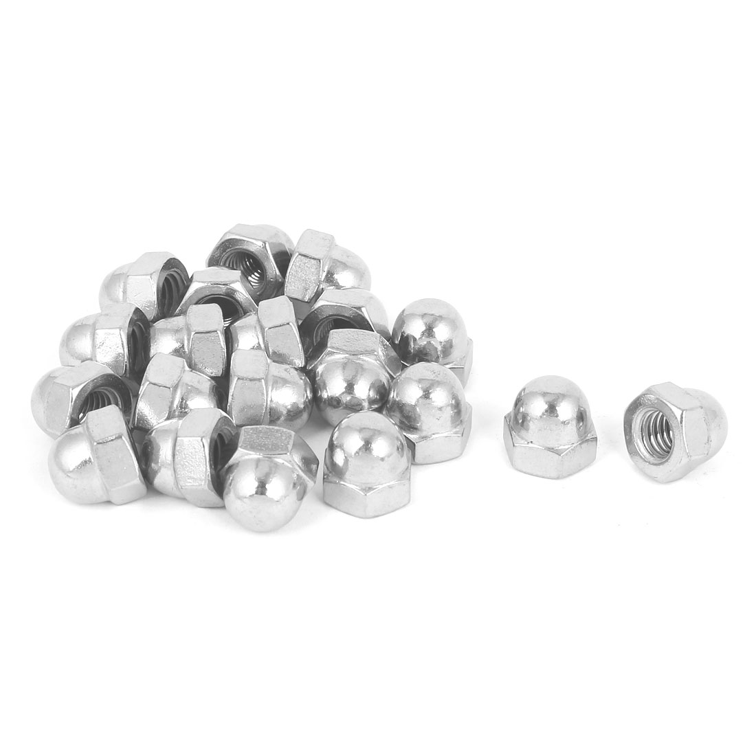 """3/8""""-16 304 Stainless Steel Dome Head Cap Hexagon Nuts Silver Tone 20pcs"""