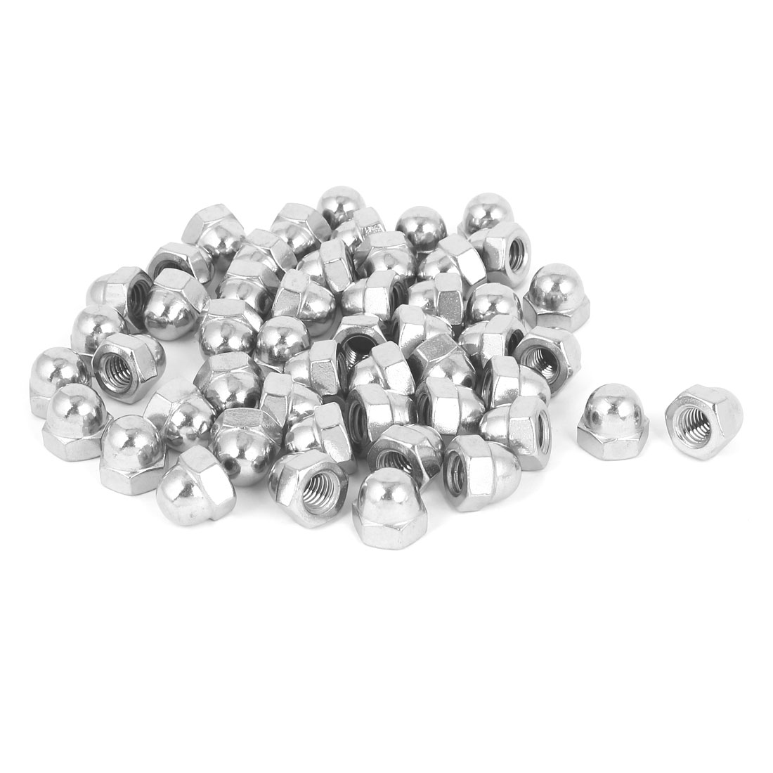 """3/8""""-16 304 Stainless Steel Dome Head Cap Hexagon Nuts Silver Tone 50pcs"""