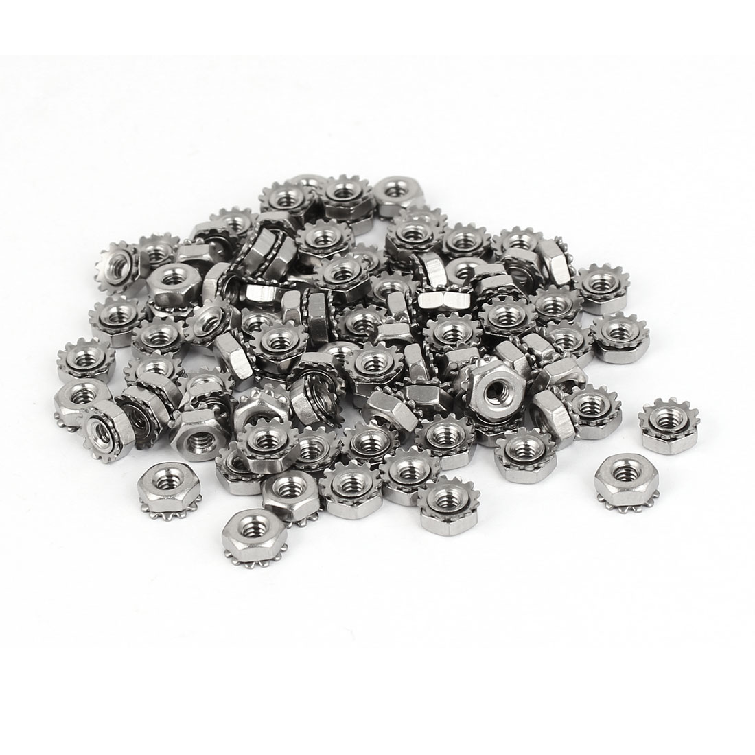 4#-40 304 Stainless Steel Female Thread Kep Hex Head Lock Nut 100pcs