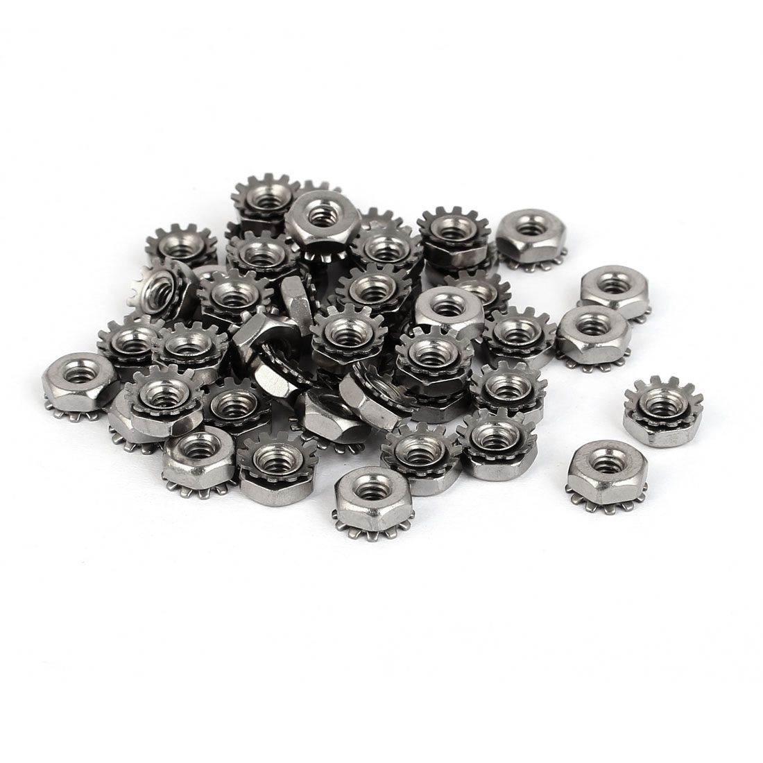 6#-32 304 Stainless Steel Female Thread Kep Hex Head Lock Nut 50pcs