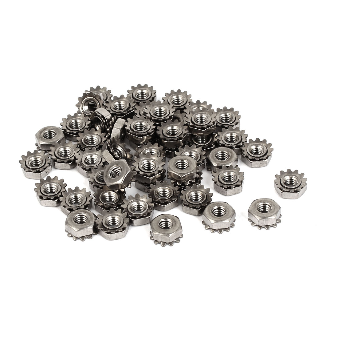 8#-32 304 Stainless Steel Female Thread Kep Hex Head Lock Nut 50pcs