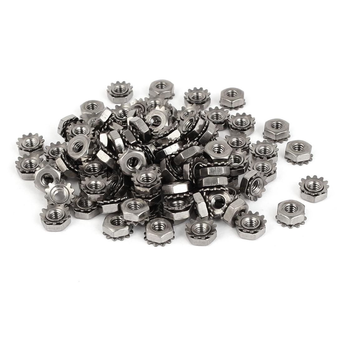 8#-32 304 Stainless Steel Female Thread Kep Hex Head Lock Nut 100pcs