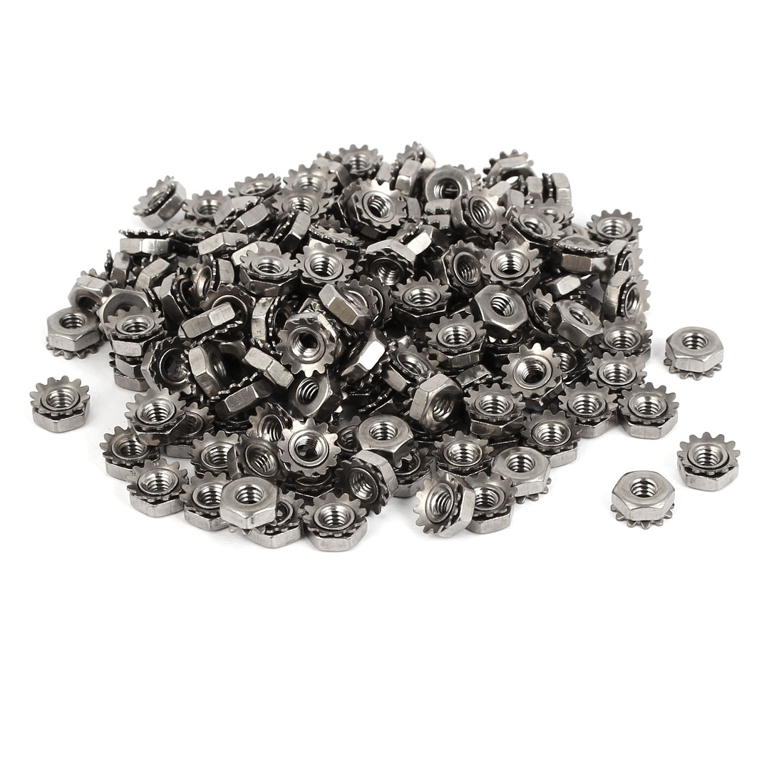 8#-32 304 Stainless Steel Female Thread Kep Hex Head Lock Nut 200pcs