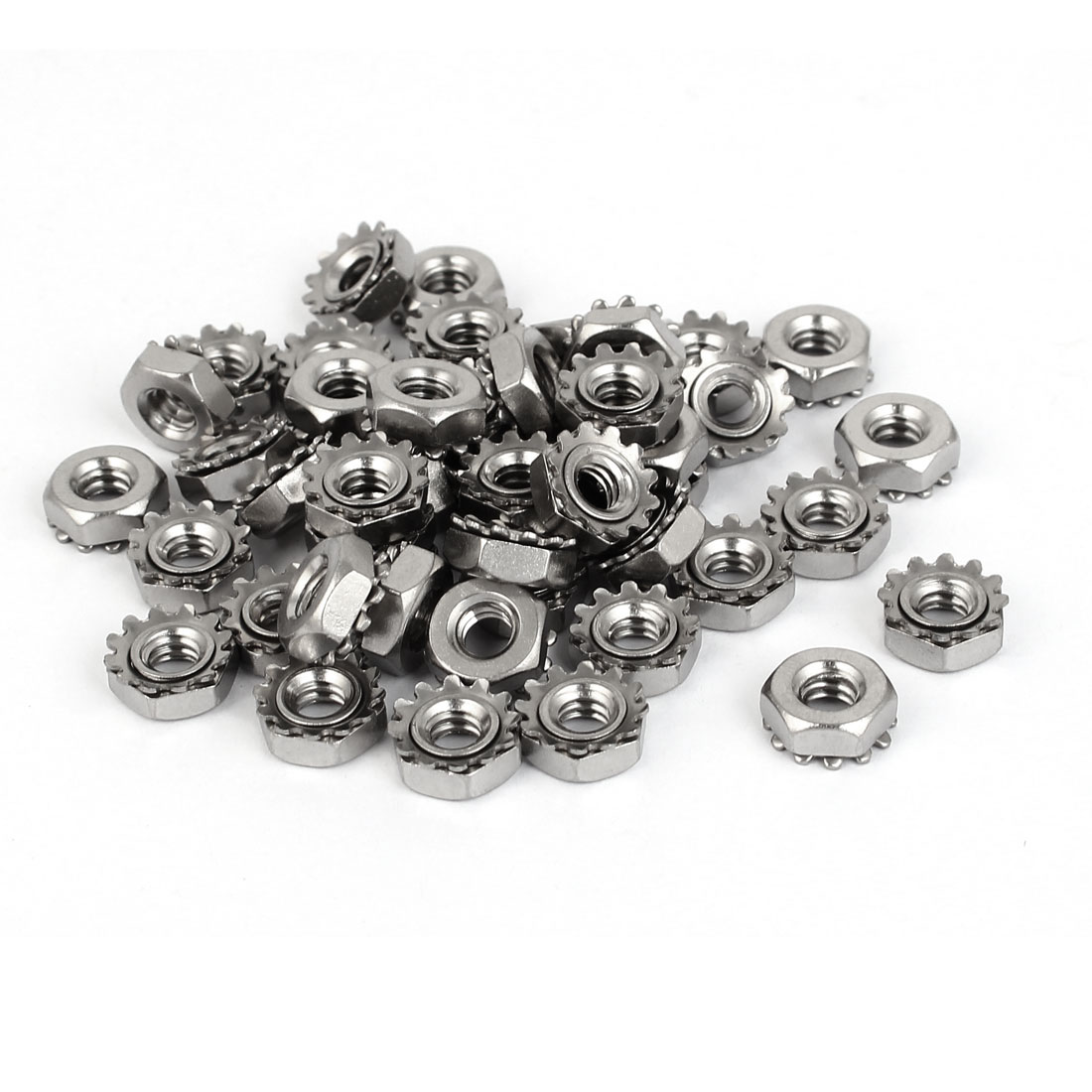 10#-24 304 Stainless Steel Female Thread Kep Hex Head Lock Nut 50pcs
