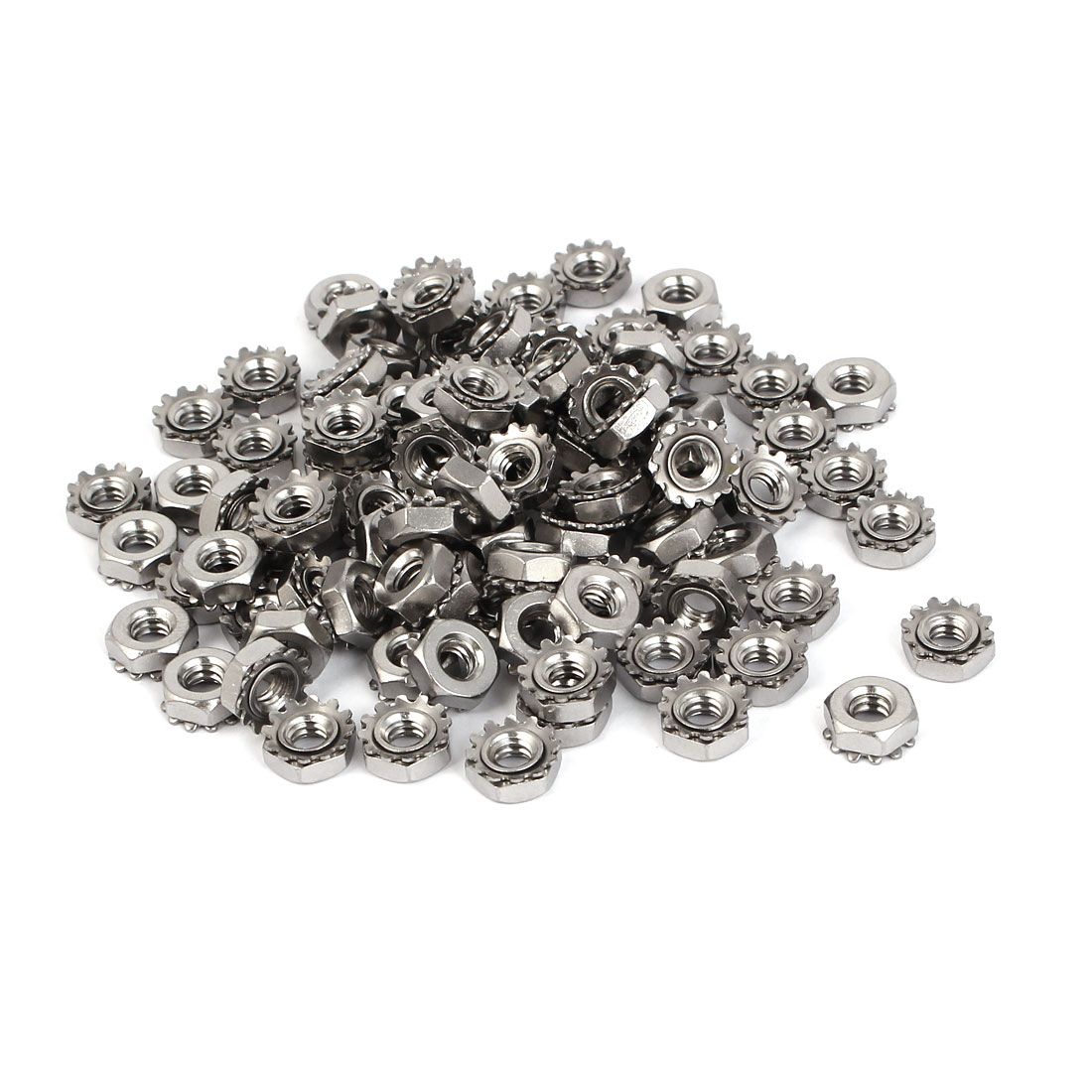 10#-24 304 Stainless Steel Female Thread Kep Hex Head Lock Nut 100pcs