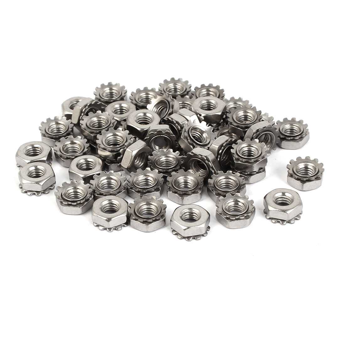 10#-32 Female Thread Zinc Plated Kep Hex Head Lock Nut 50pcs