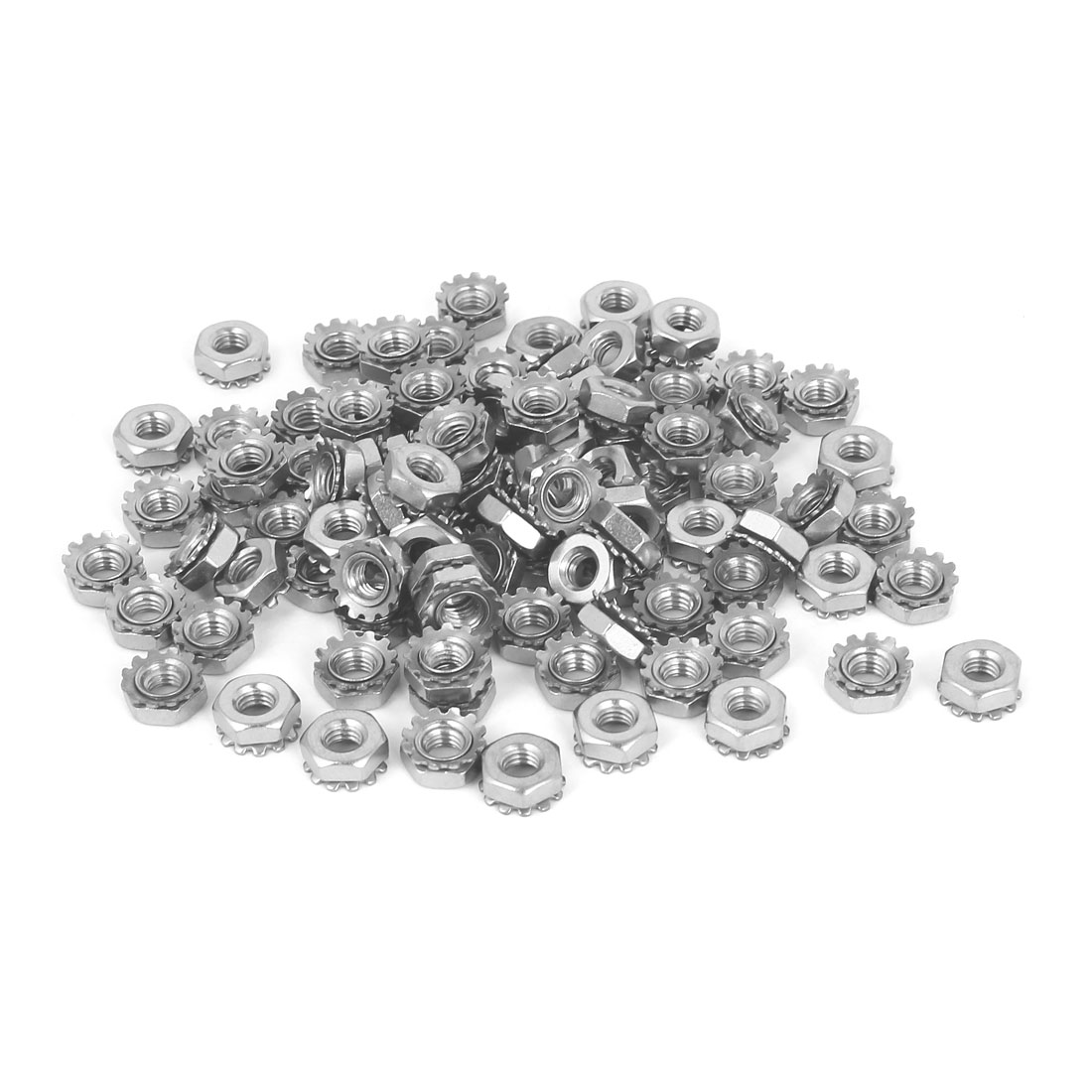 10#-32 304 Stainless Steel External Tooth Kep Nuts Locknuts Silver Tone 100 Pcs