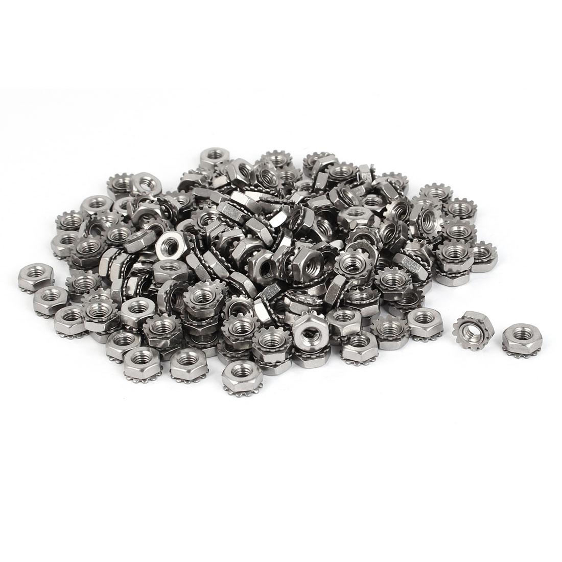10#-32 304 Stainless Steel Female Thread Kep Hex Head Lock Nut 200pcs