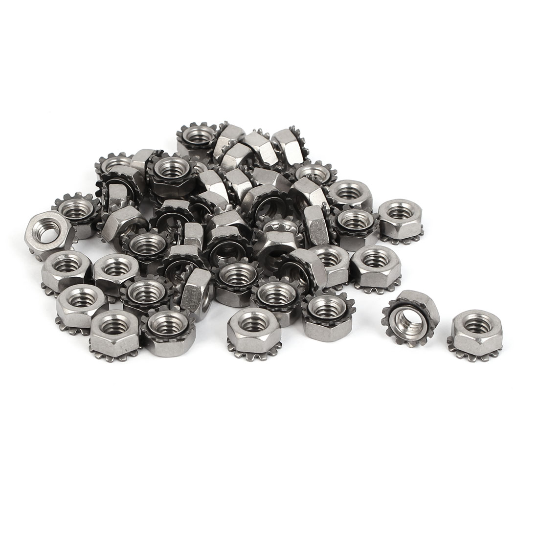 "1/4""-20 304 Stainless Steel Female Thread Kep Hex Head Lock Nut 50pcs"