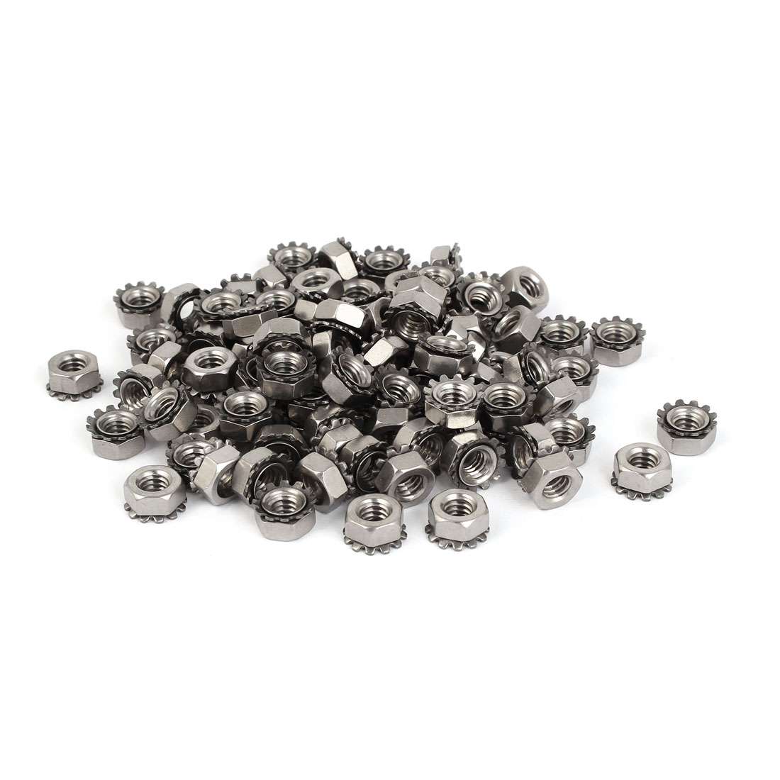 "1/4""-20 304 Stainless Steel Female Thread Kep Hex Head Lock Nut 100pcs"