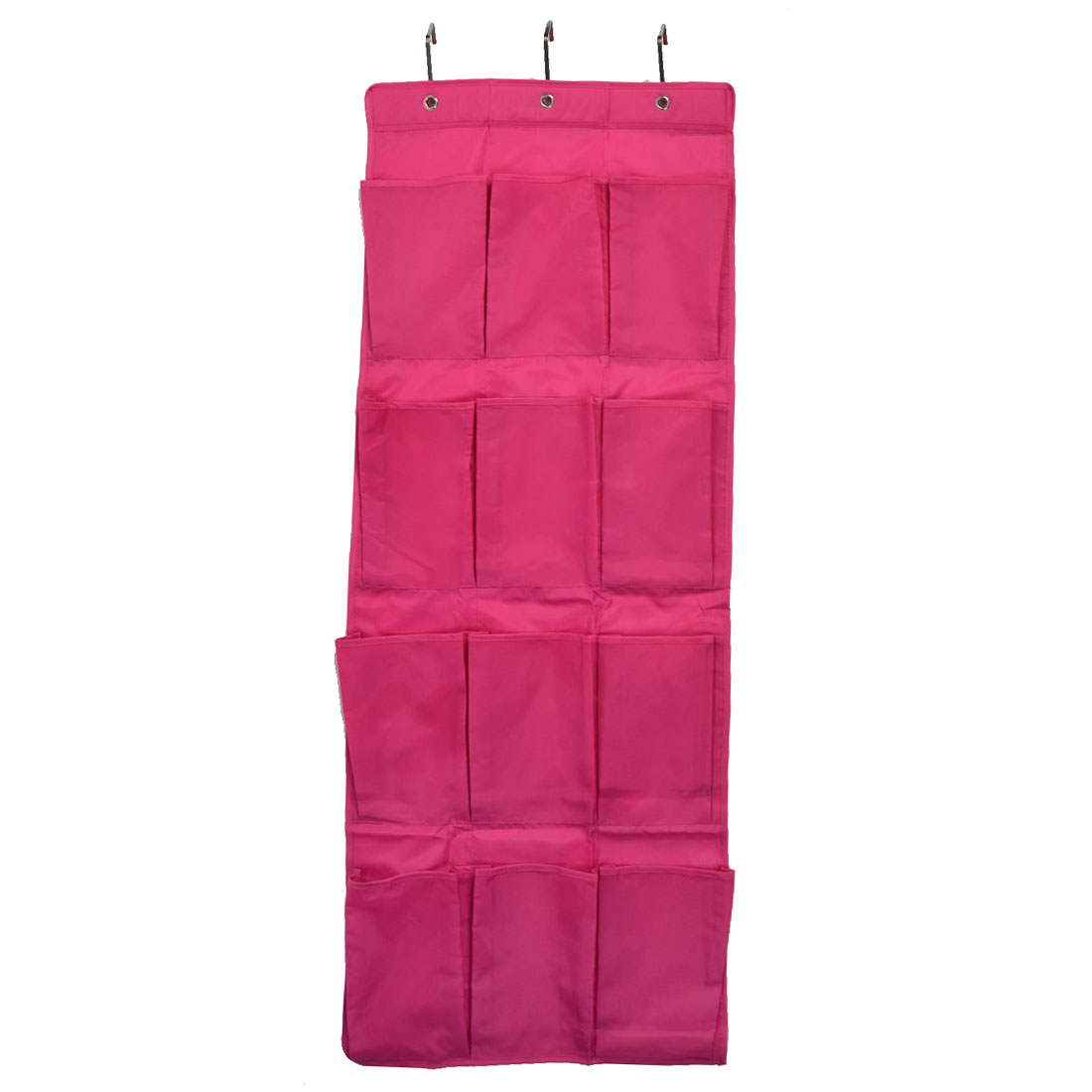 Household 12 Pockets Shoe Toiletry Cosmetic Organizer Holder Hanging Bag Fuchsia