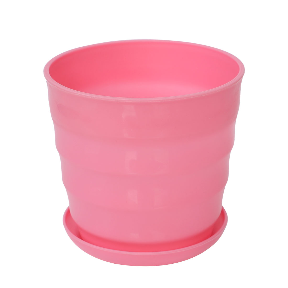 Home Office Desk Plastic Cylindrical Plant Planter Holder Flower Pot Pink