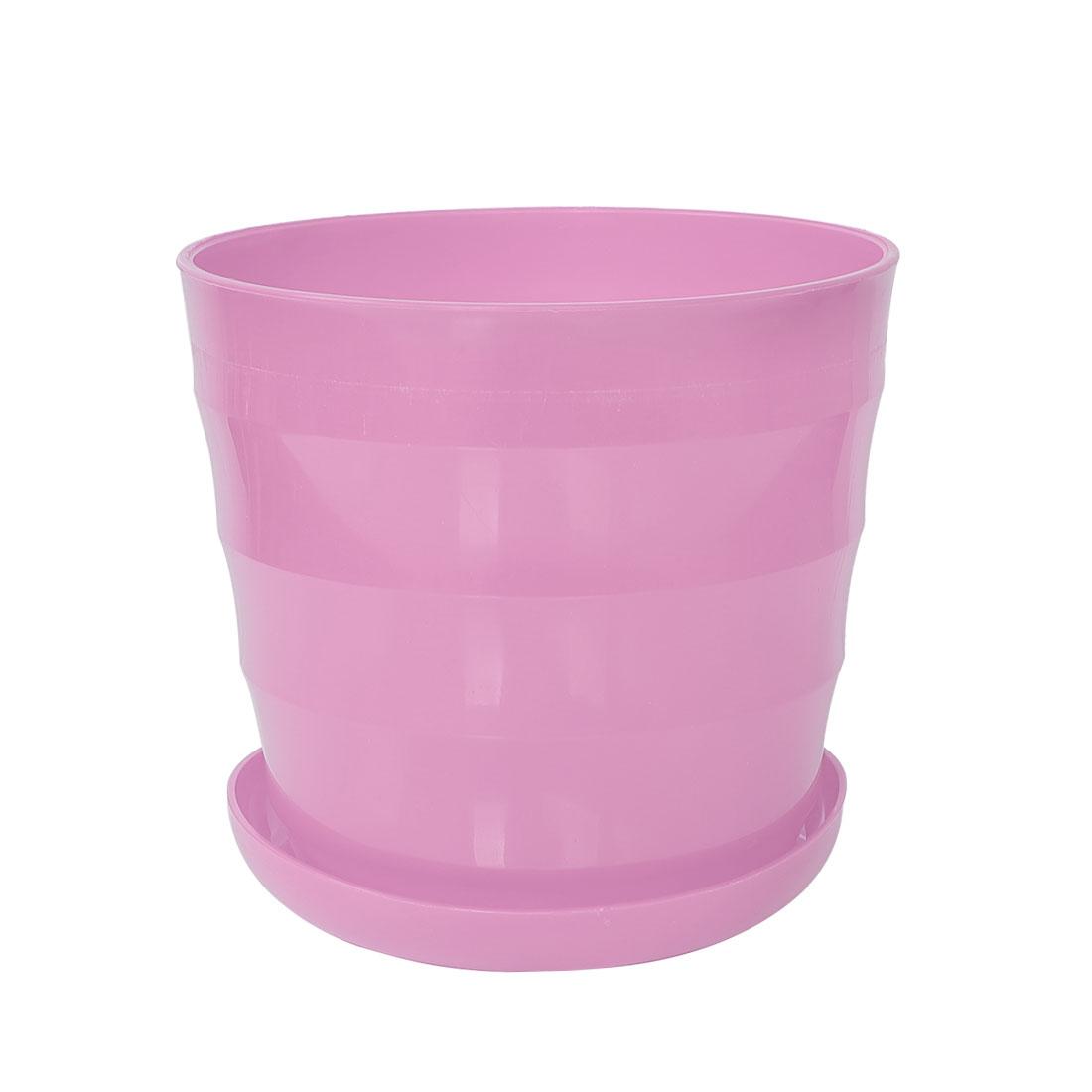 Home Garden Office Plastic Round Plant Planter Flower Pot Ornament Pink