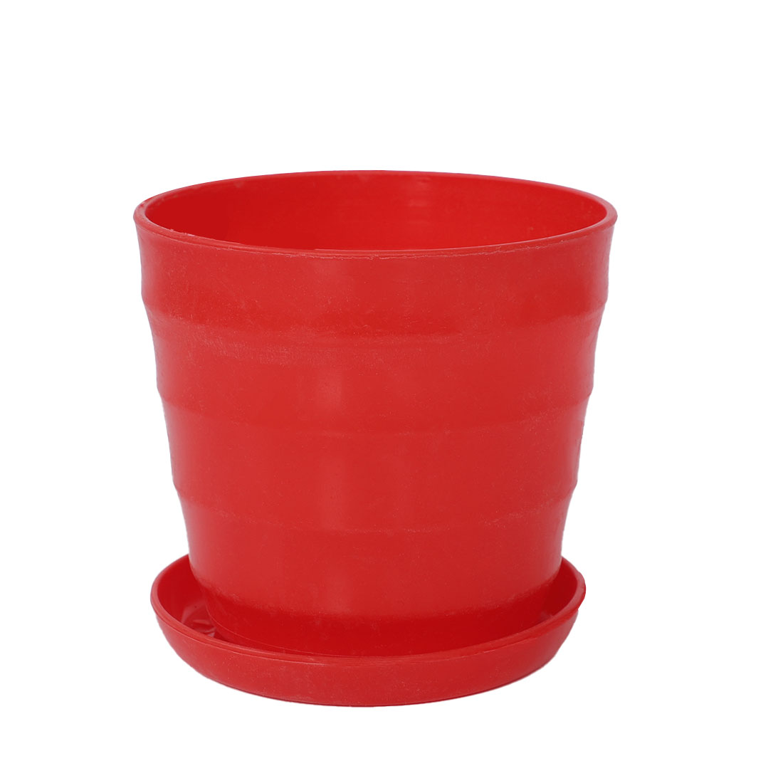 Red Plastic Stripe Pattern Mini Home Garden Office Plant Flower Pot w Tray