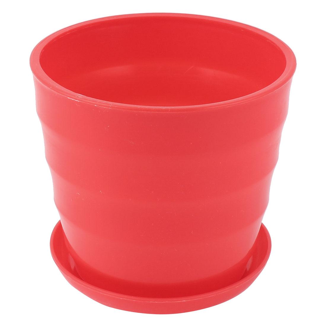 Home Garden Office Desk Plastic Round Plant Planter Holder Flower Pot Red