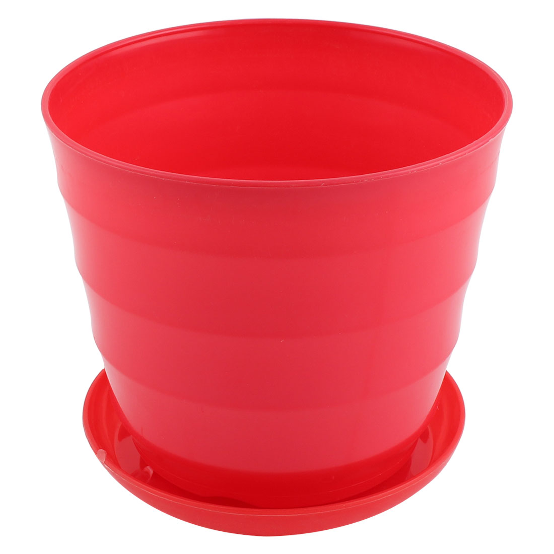 Home Patio Office Plastic Stripe Pattern Plant Planter Container Flower Pot Red