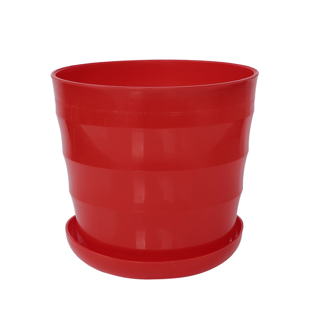 19cm Dia Plastic Round Plant Planter Holder Flower Pot Home Garden Decor Red
