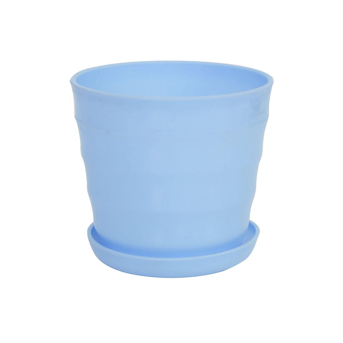 11cm Dia Sky Blue Plastic Stripe Pattern Garden Flower Pot Home Office Decor