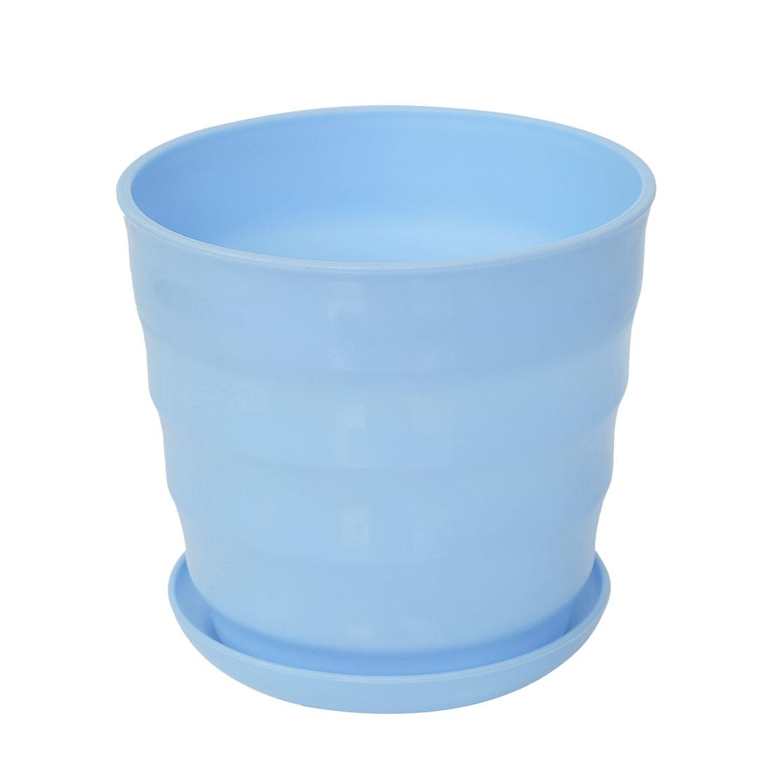 Home Office Desk Plastic Round Plant Planter Flower Pot Sky Blue 5 Inch Dia