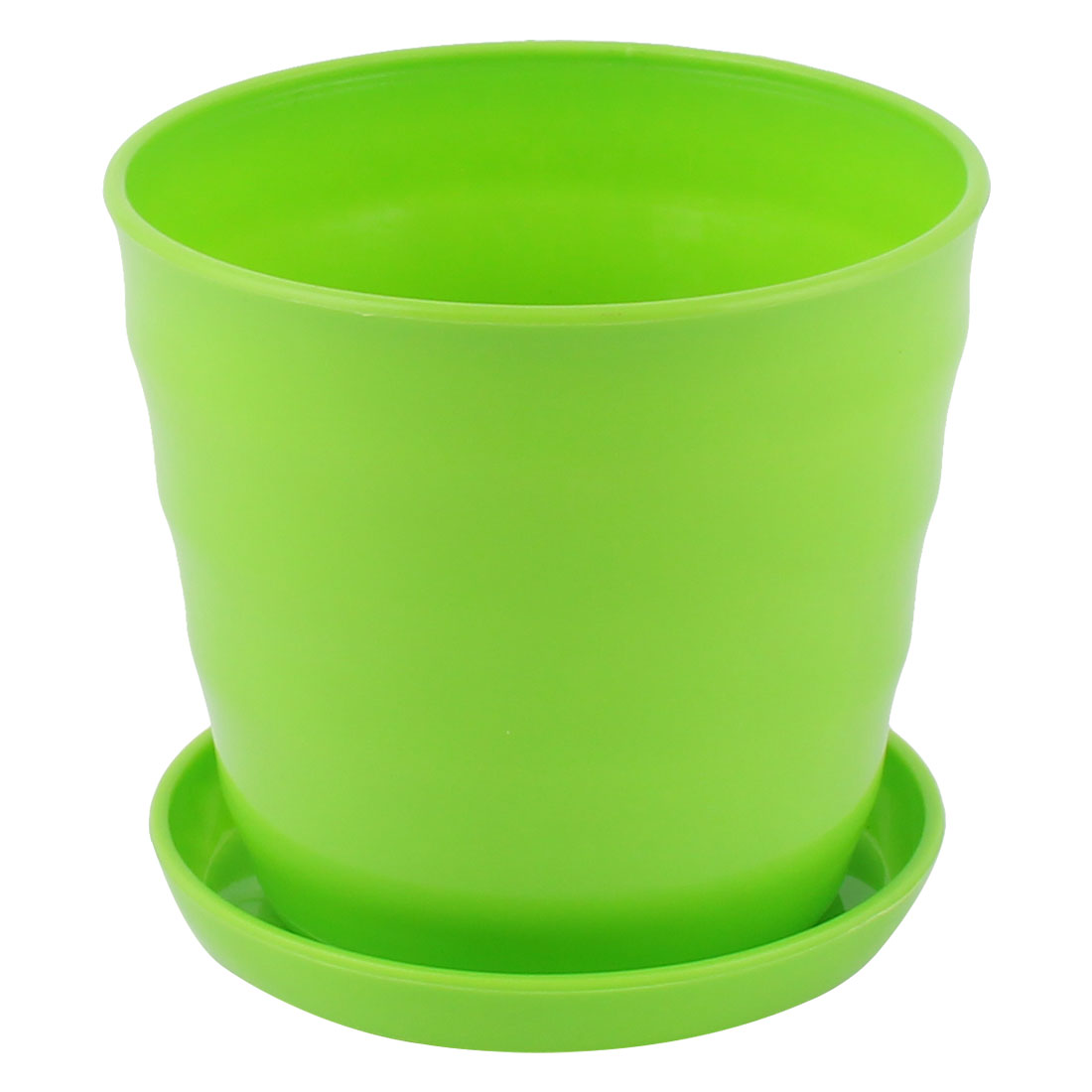 9cm Dia Green Plastic Plant Planter Holder Flower Pot Home Office Garden Decor w Tray