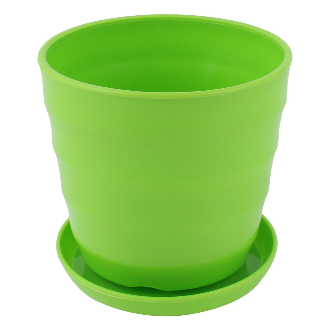 Green Plastic Stripe Pattern Mini Home Garden Office Flower Planter Pot w Tray