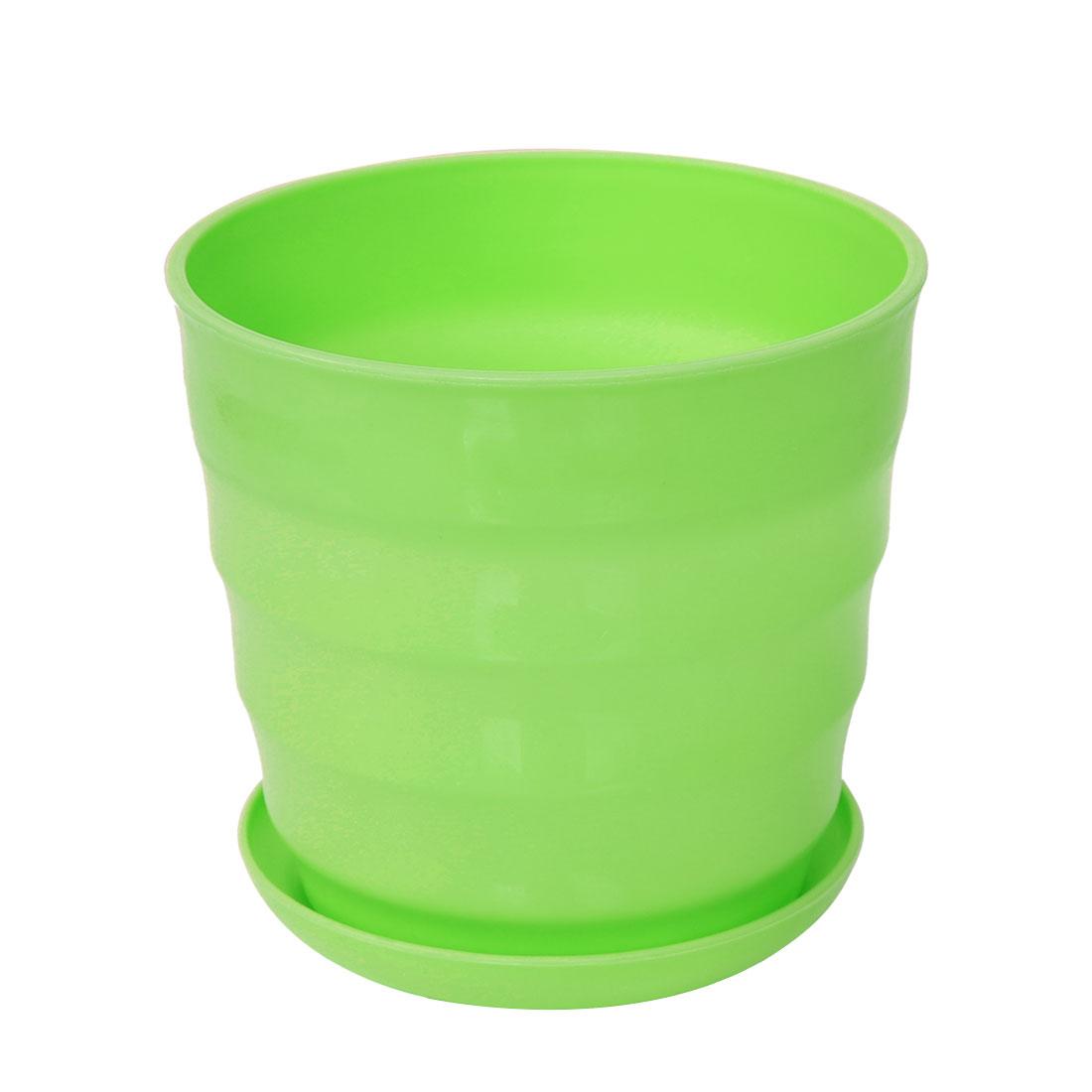 Home Garden Office Plastic Round Plant Planter Holder Flower Pot Green 13cm Dia