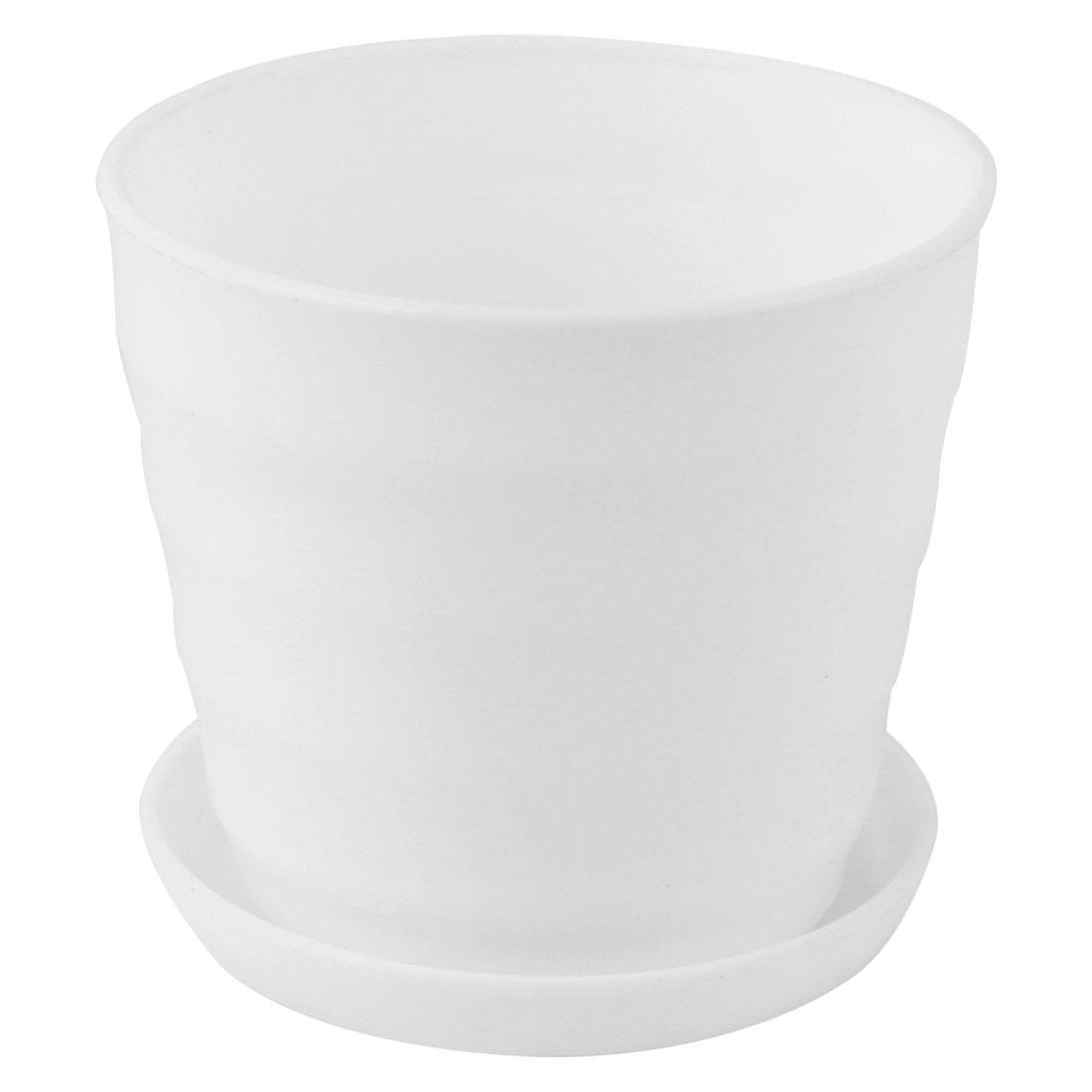 White Plastic Stripe Pattern Home Garden Office Plant Planter Holder Flower Pot