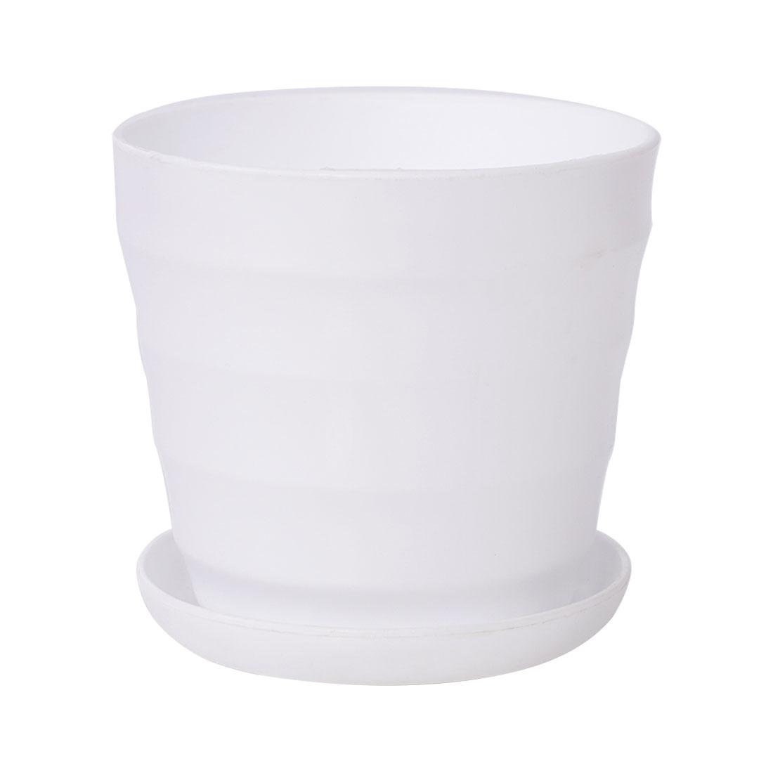 11cm Dia White Plastic Stripe Pattern Mini Garden Flower Pot Home Office Decor