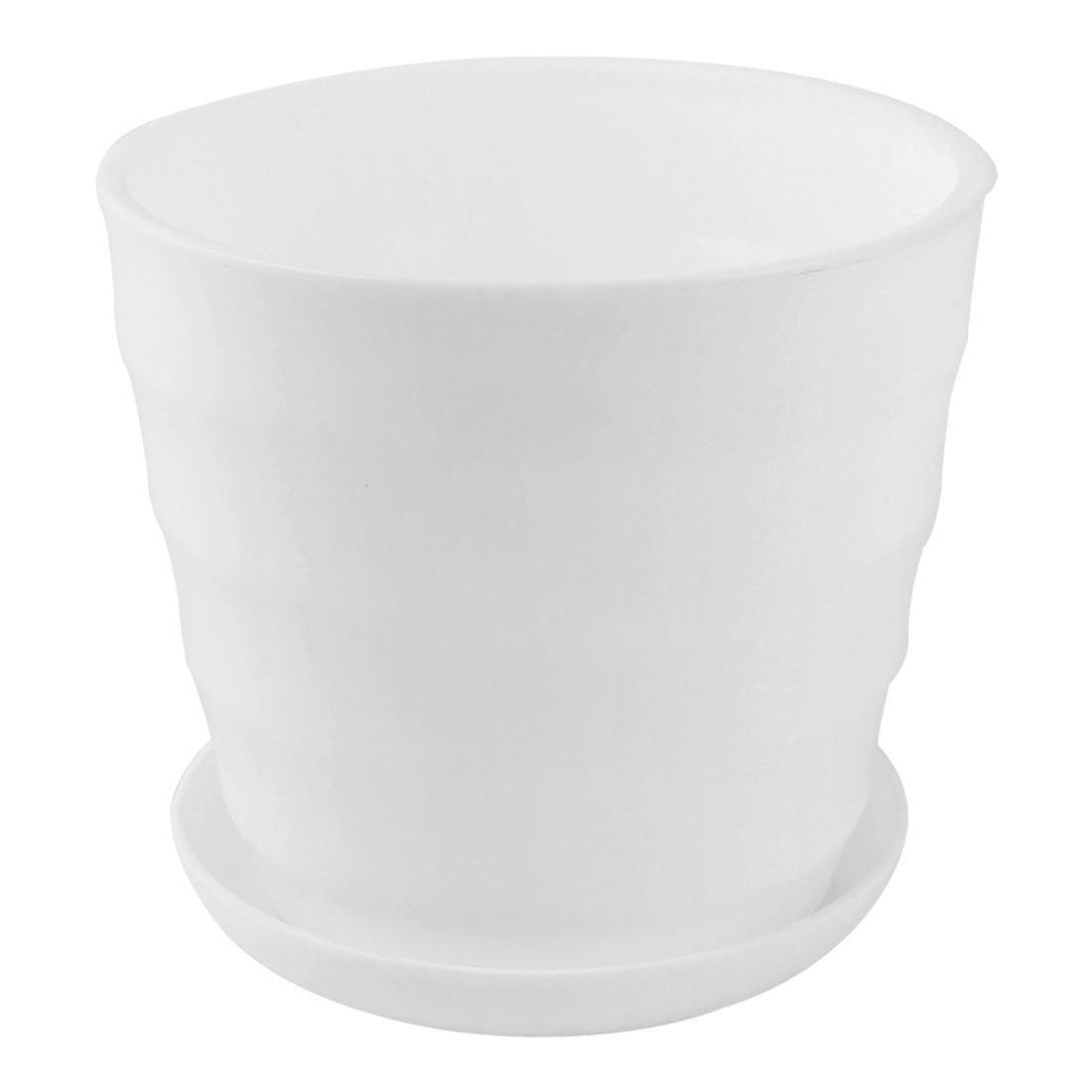 Home Garden Office Desk Plastic Round Plant Planter Flower Pot White 5 Inch Dia