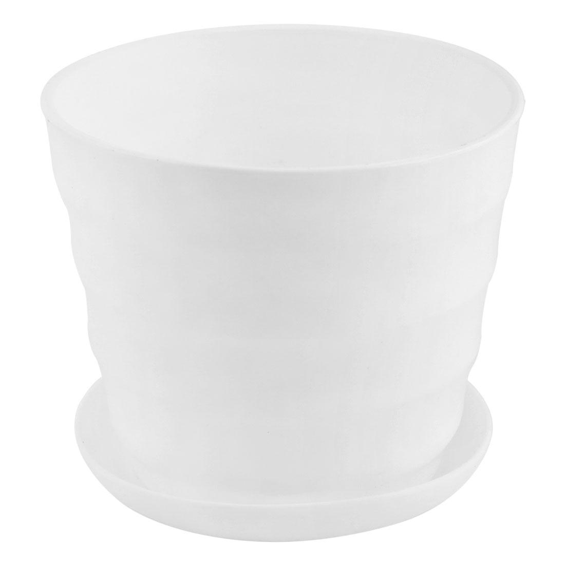 15.5cm Dia White Plastic Stripe Pattern Plant Flower Pot Home Garden Office Decor