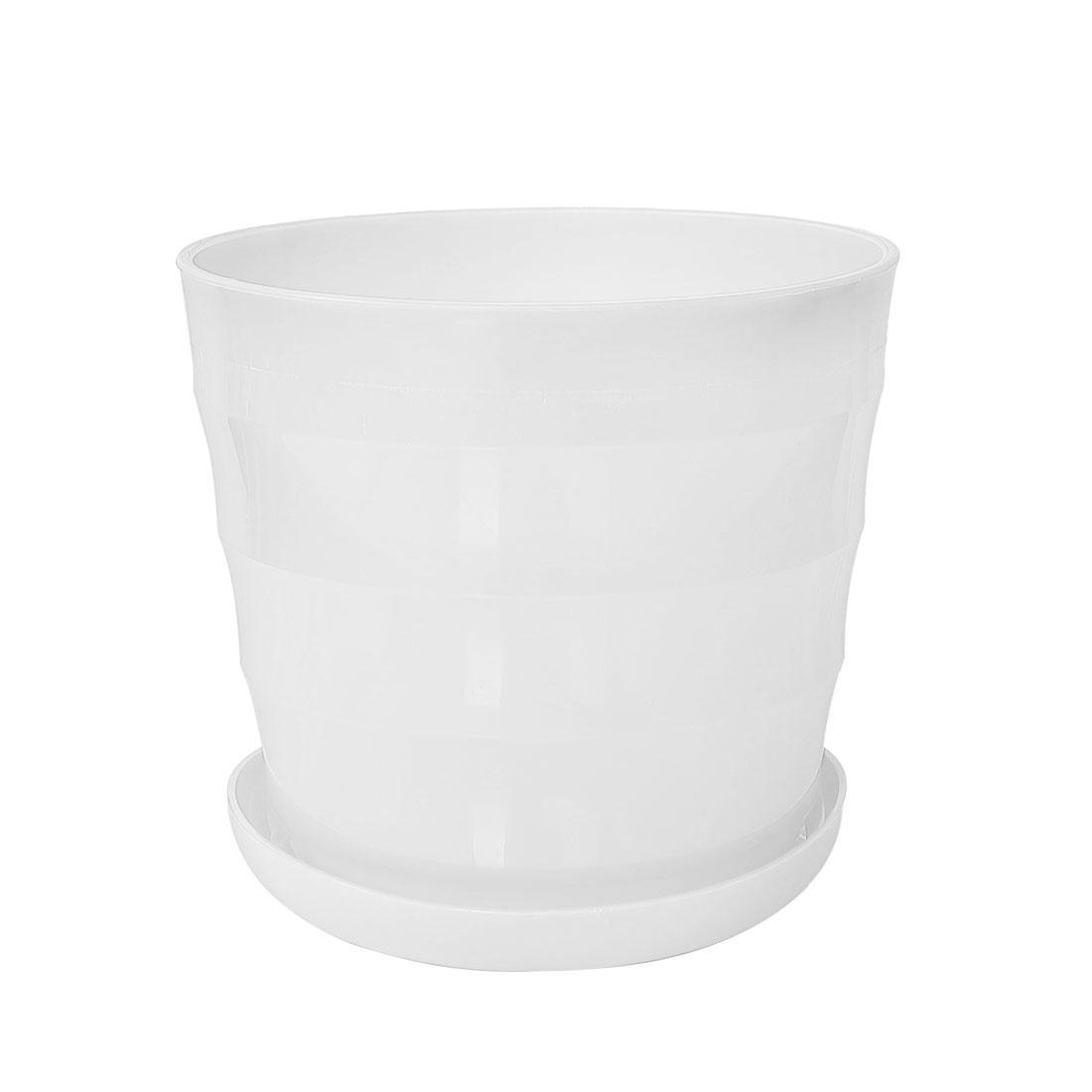 Home Balcony Office Plastic Round Plant Planter Holder Flower Pot White 19cm Dia