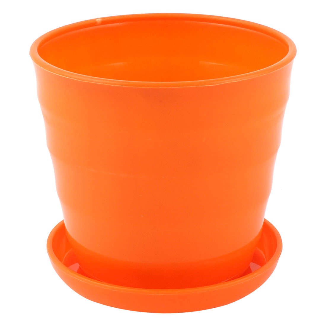 Plastic Stripe Pattern Home Office Mini Plant Planter Holder Flower Pot Orange