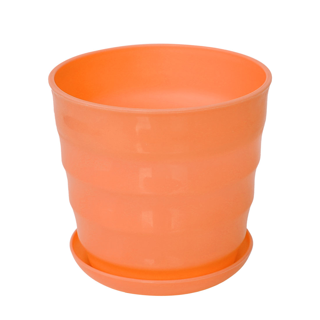 Home Office Garden Plastic Plant Planter Flower Pot Orange 12.5cm Dia w Tray