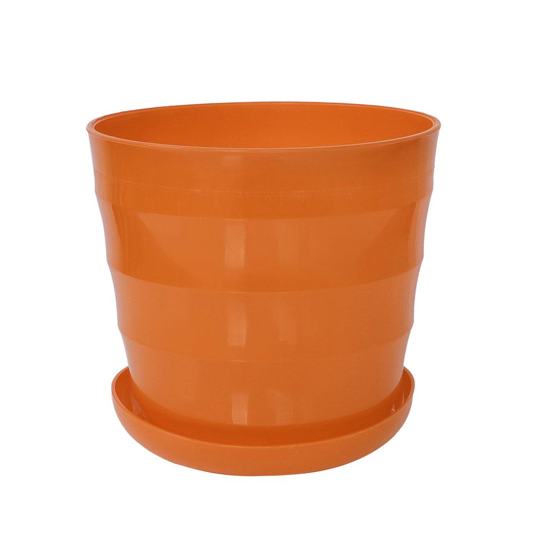 Home Garden Office Plastic Round Plant Planter Holder Flower Pot Orange