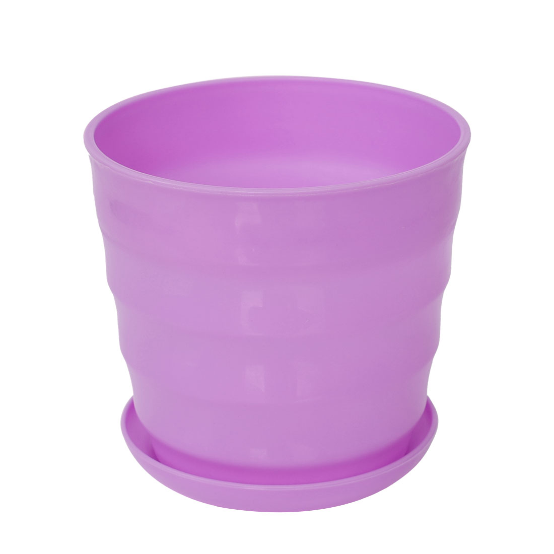 Home Garden Patio Office Plastic Stripe Pattern Plant Flower Holder Pot Purple