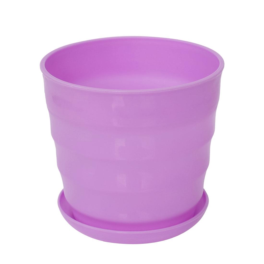Home Garden Patio Office Plastic Stripe Pattern Plant Flower Holder Pot Purple