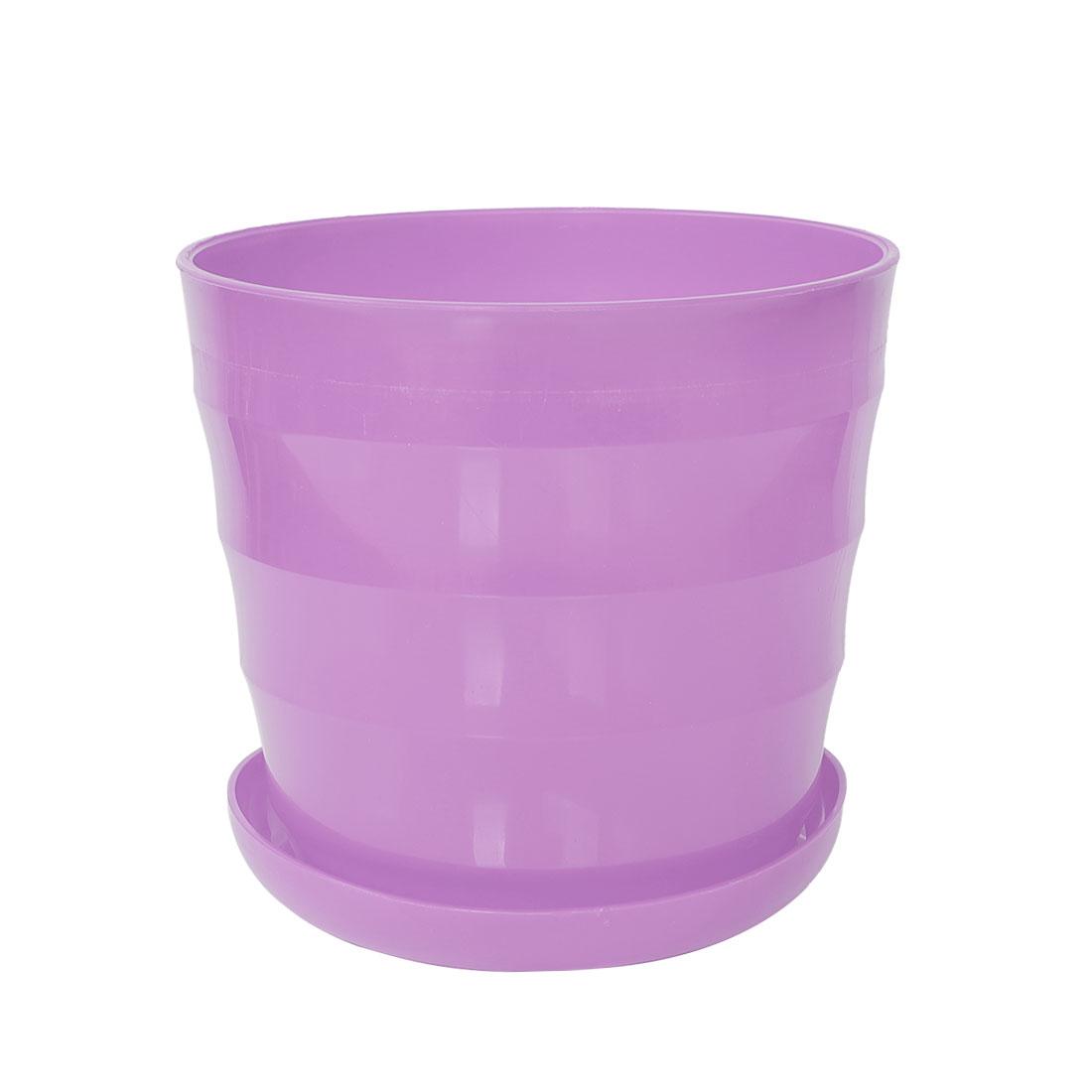 Home Balcony Office Plastic Round Plant Planter Holder Flower Pot Purple 19cm Dia