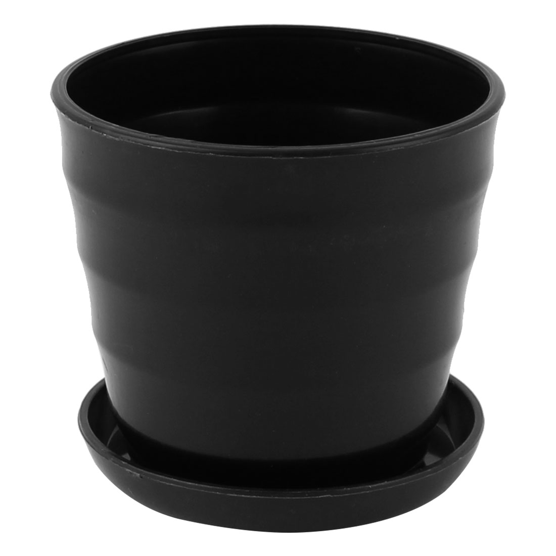 Home Garden Office Plastic Stripe Pattern Mini Plant Planter Flower Pot Black