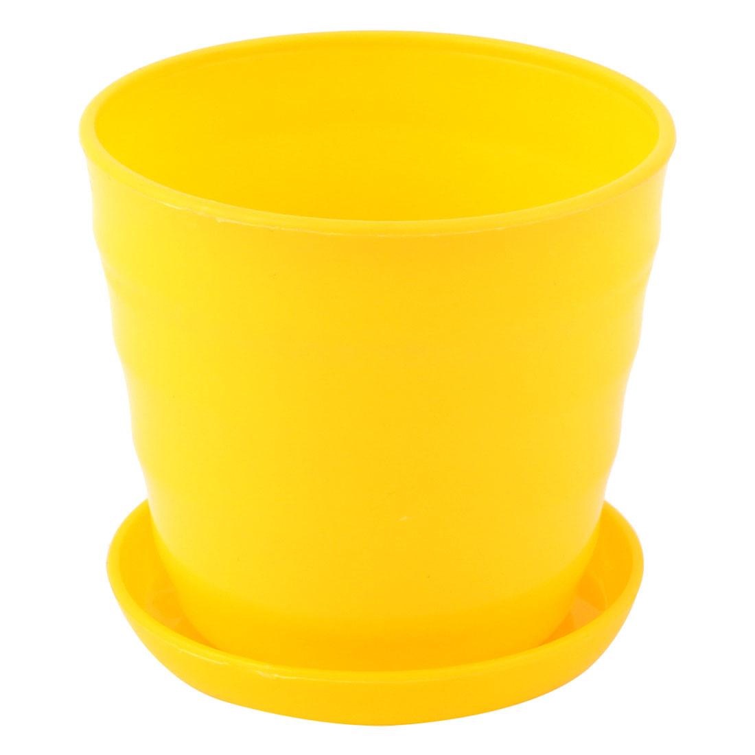 Yellow Plastic Stripe Pattern Home Garden Office Plant Planter Holder Flower Pot