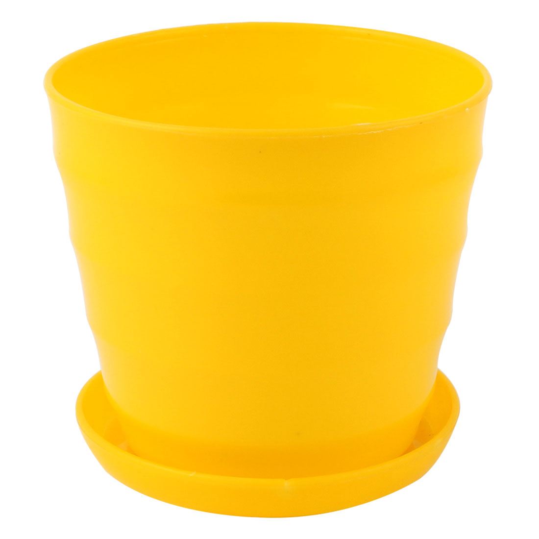 Yellow Plastic Stripe Pattern Home Garden Office Mini Plant Flower Pot w Tray