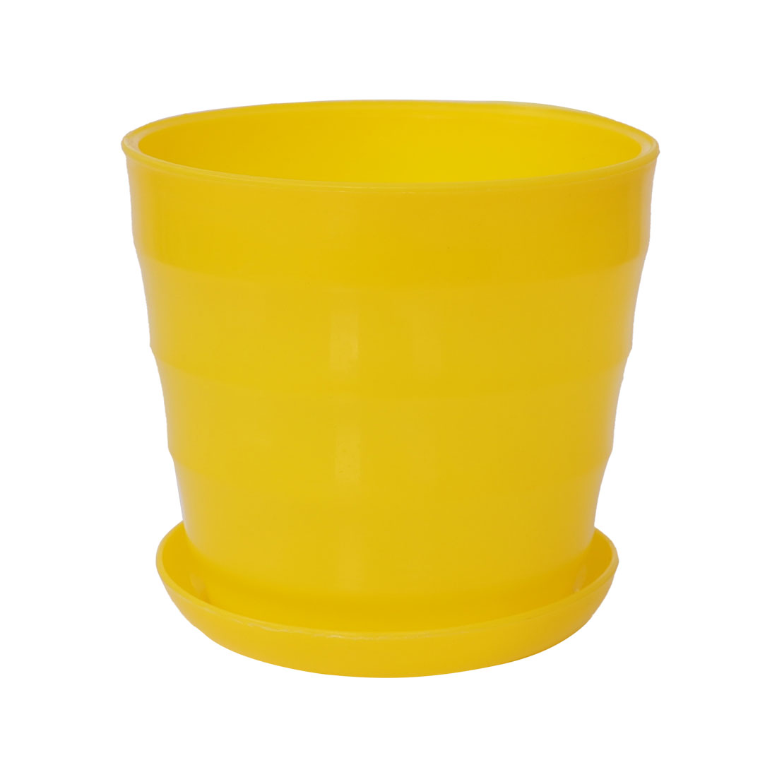Home Office Plastic Round Plant Planter Container Flower Pot Yellow 13cm Dia