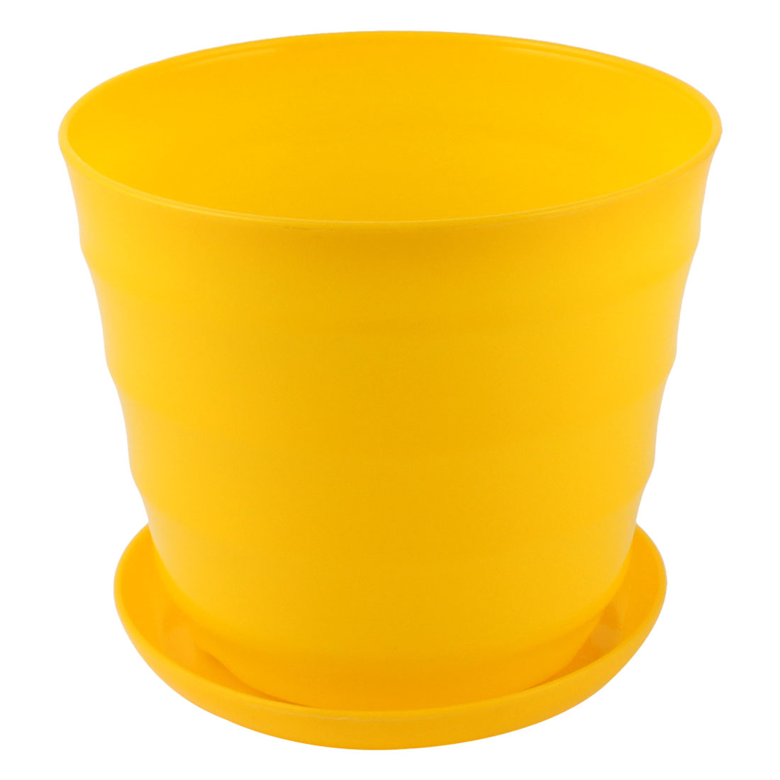 Home Garden Patio Office Plastic Stripe Pattern Plant Flower Container Pot Yellow