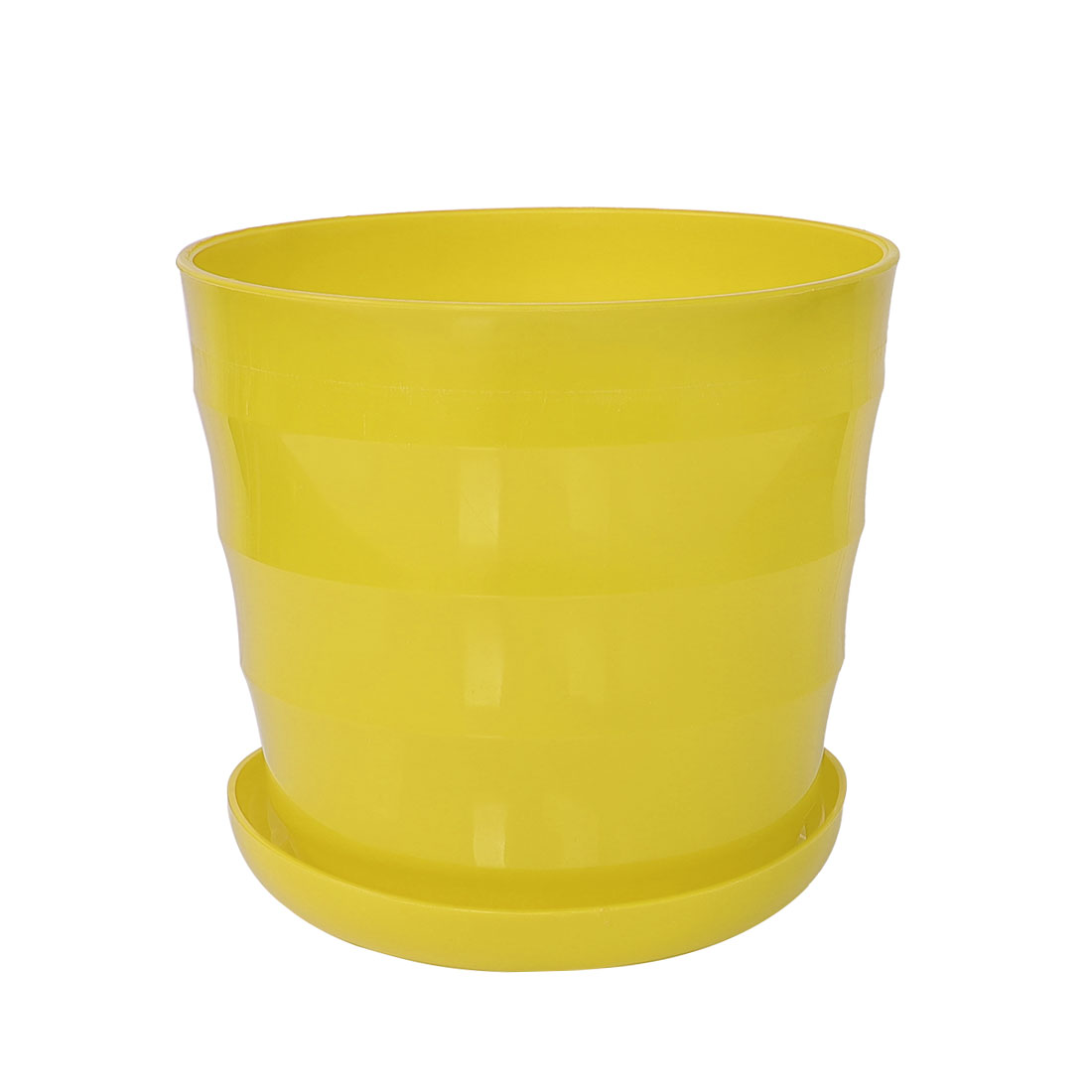 Home Balcony Garden Plastic Round Plant Planter Holder Flower Pot Yellow 19cm Dia